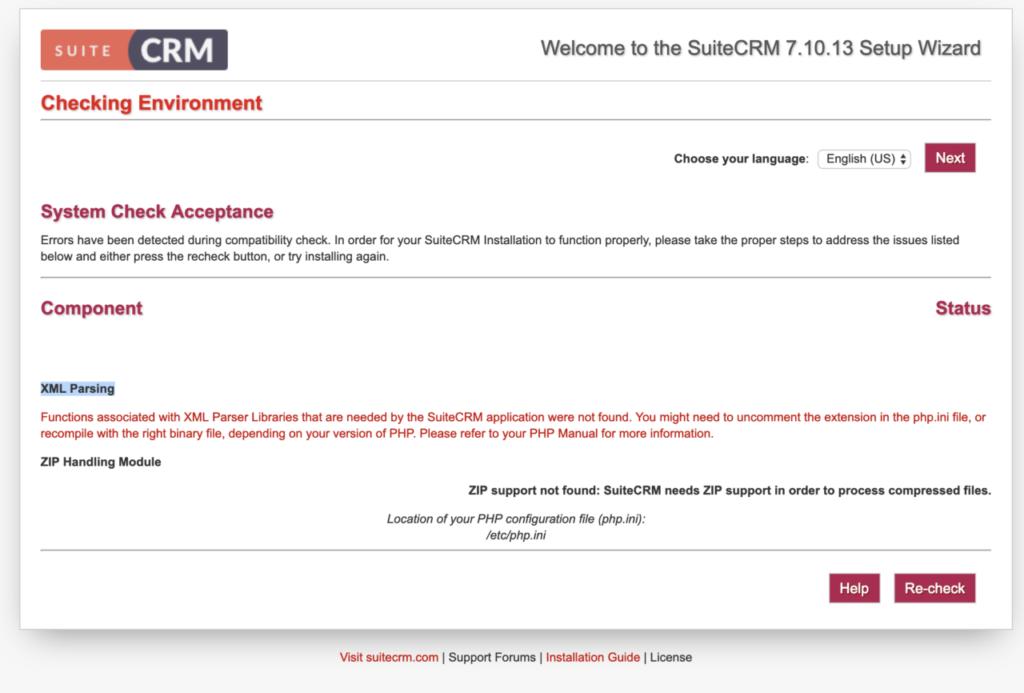 SuiteCRM7.10.13 phpコンポーネントチェックXML ㈱こころみらい